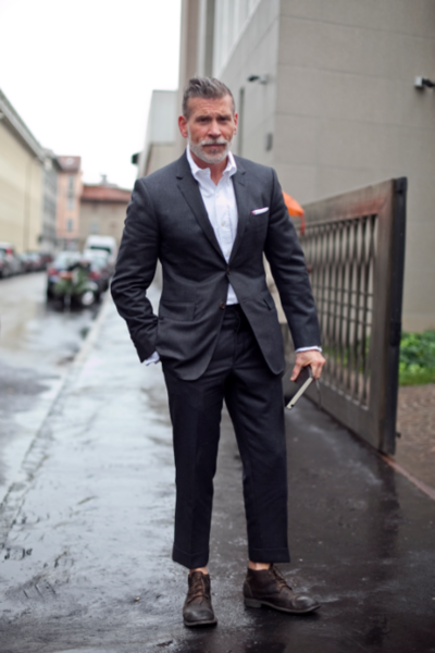 My favorite fold is the Traditional, worn very well by style icon Nick Wooster.