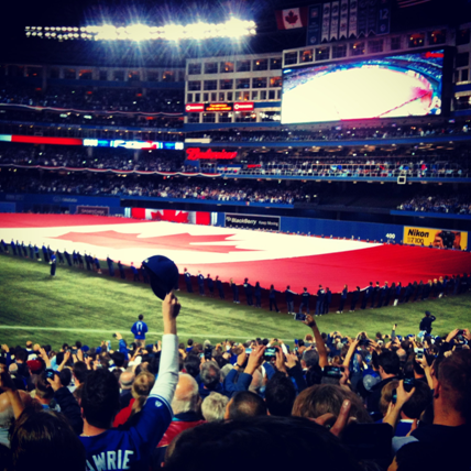 I love the traditions in baseball. In Toronto we unfurling the Canadian flag in the outfield.